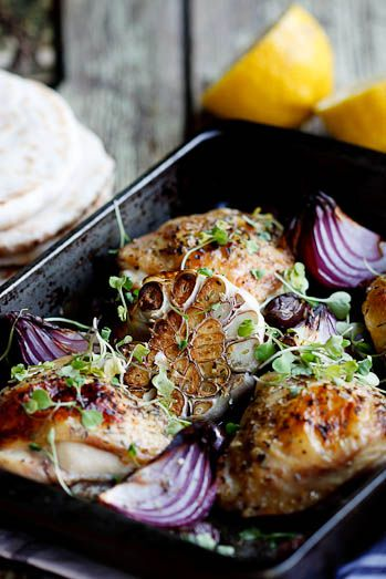 Greek Chicken Bake - vg plus added lemons to the pan
