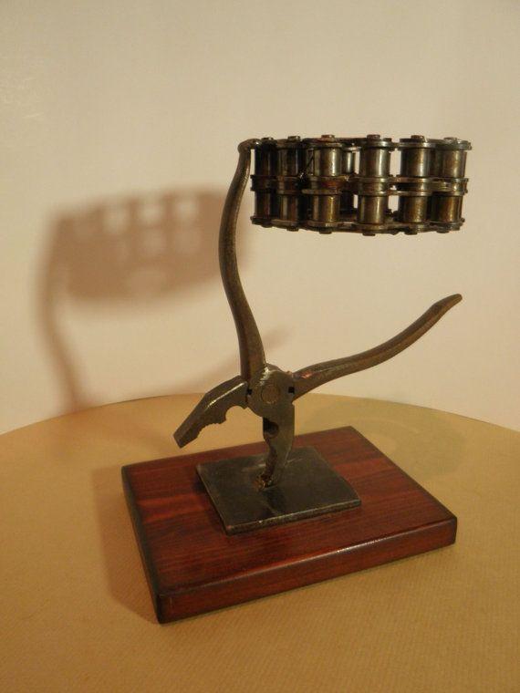 Metal Art Candle Holder / tools & chain by AtelierIslandArt
