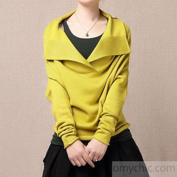Yellow Turnover sweater shirt