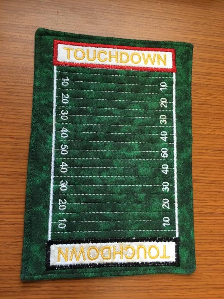Football Mug Rug! I made this for my buddy Jack at work!
