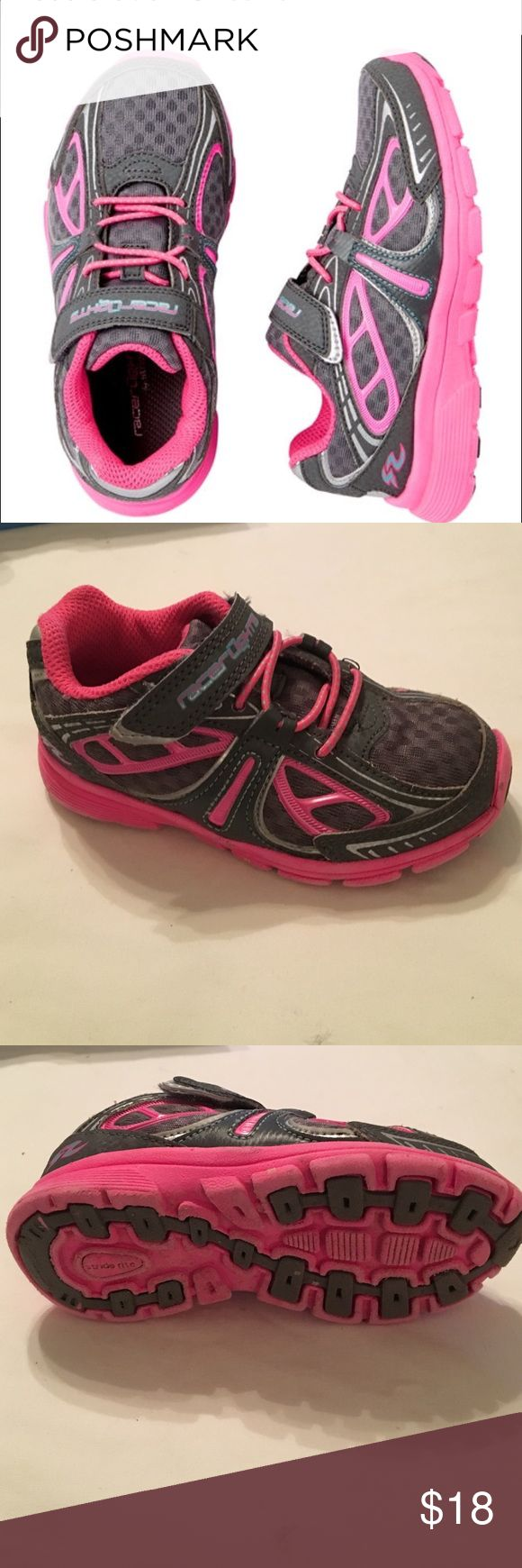 Stride Rite Grey/Pink Velcro Tennis Shoes Stride Rite Grey/Pink Velcro Girls Tennis Shoes, Size 7M, previously worn, still has lots of wear left. Stride Rite Shoes Sneakers