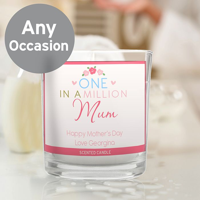 Personalised One in a Million Scented Jar Candle Personalise this candle with a role/name up to 12 characters in length and a message over 2 lines of up to 20 characters per line. 'One in a Million' is fixed text. All personalisation is case sensitive and will appear as entered. £12.99