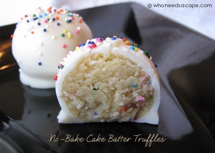 For the Truffles:  1-1/2 c. flour  1 c. yellow cake mix  1/2 c. unsalted butter, softened  1/2 c. white sugar  1 tsp. vanilla  1/8 tsp. salt  3-4 tbsp. milk  2 tbsp. sprinkles  For the Coating:  16 oz. (8 squares) almond bark or vanilla flavored coating  Sprinkles  Pop sticks (for dipping)