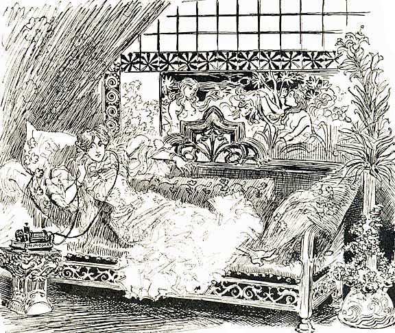 Uno schizzo del 1895 di una donna in ascolto di un libro letto ad alta voce nel suo appartamento di Parigi - See more at: http://britishlibrary.typepad.co.uk/english-and-drama/2013/08/the-first-audiobook-.html#sthash.0pavJGJ0.UUkmSwWu.dpuf