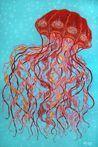 Royal Jelly C 2010 Doris Olsen Cool Art Projects Jellyfish Painting Coastal Artwork