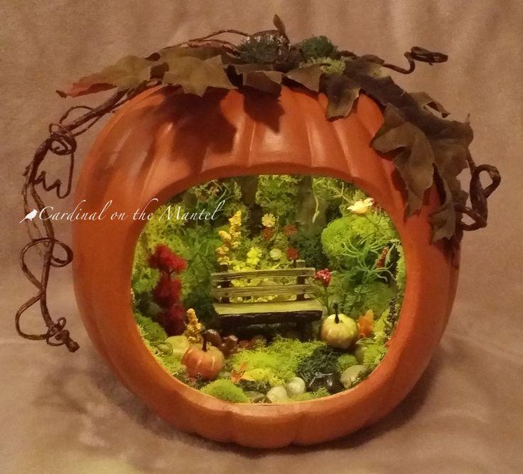 Fairy Garden Houses >> Fairy Garden in a Pumpkin, Pumpkin Fairy Garden, Handcrafted by Cardinal on the Mantel