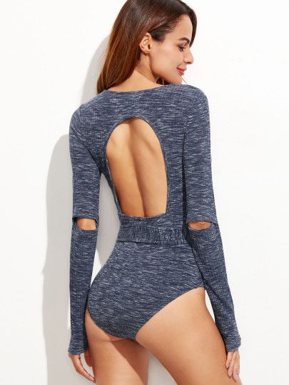 Navy Heathered Open Back Elbow Ripped Bodysuit With Belt