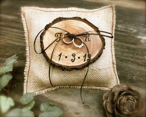 Arpillera anillo portador almohada anillo de boda rústicos titular