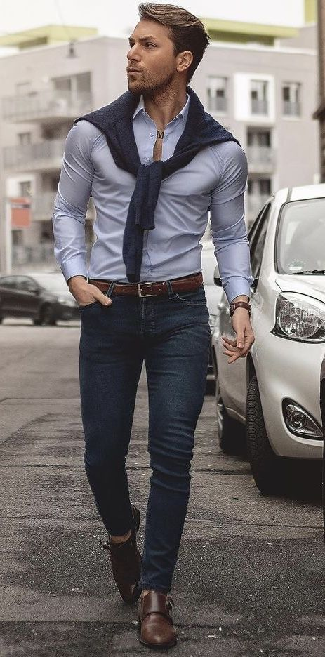 d2713fb4d90  malikarakurt - with a summer business casual combo with a navy sweater light  blue button up shirt brown leather belt dark wash denim brown leather banded  ...