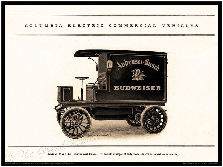 Antique Truck Print - Columbia Electric Budweiser Delivery Truck - German American Beer - Electric Vehicle - Electric Commercial Vehicle