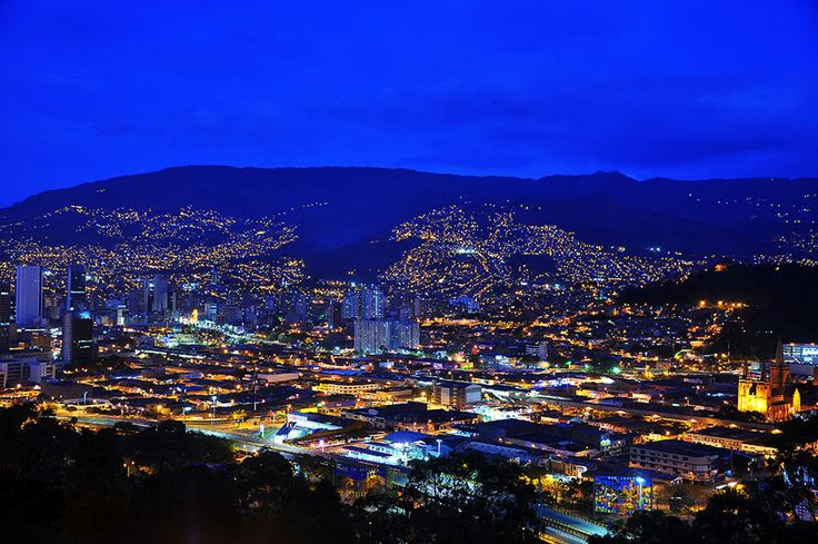 A view of #Medellin, #Colombia taken during the blue hour.