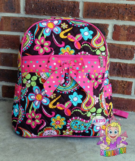 POPULAR 2015 Personalized paisley girly backpack book bag by AKidsDreamBoutique