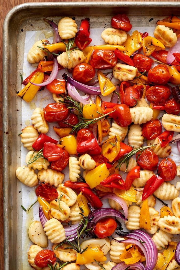 Grab that sheet pan. This gnocchi and veggies recipe is the easy dinner prep you've been waiting for. This healthy meal is great for vegetarians or even if you're trying to keep the carb count low. To make this, you'll need frozen or fresh gnocchi, cherry tomatoes, garlic, ground black pepper and olive oil.