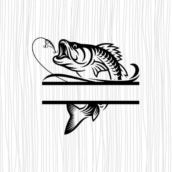 Download Bass Split Monogram Svg Fishing Svg Fishing Logo Design Bass Monogram Svg Svg File For Cricut And Silhouette Fish On A Hook Svg Fish Logo Fishing Svg Fish Svg