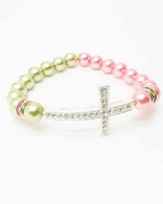Cross Bracelet Pink and Green / Pearl Cross by VickysLittleSecrets, $10.50