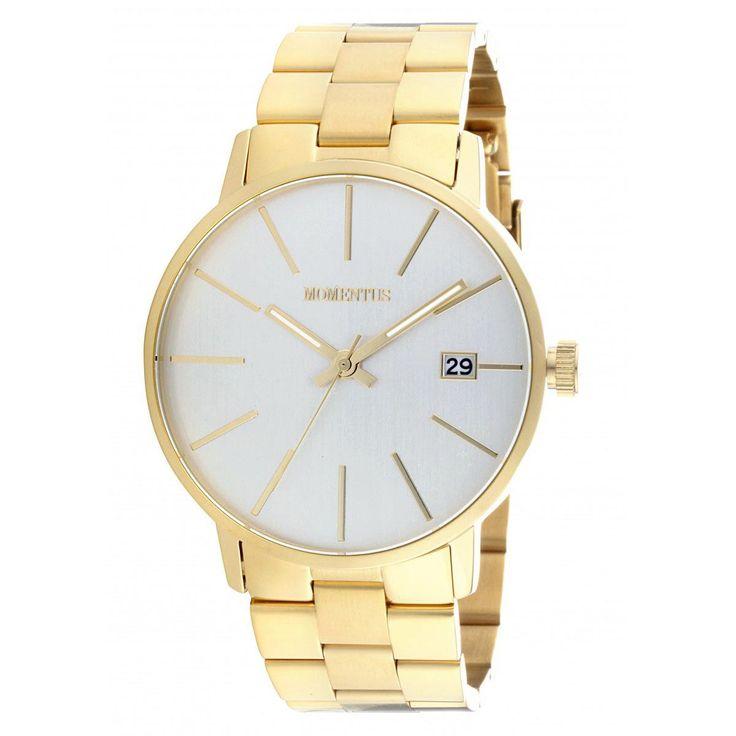 Momentus FD237G-02SG Men's Functional Dress Silver Dial Yellow Gold Steel Bracelet Watch