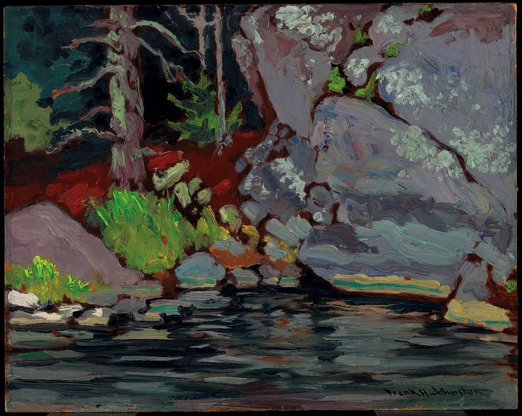 Lichen Covered Rocks, Bryce's Island, Lake of the Woods, 1918 by Franz Johnston. Oil on wood-pulp board 26.6 x 33.6 cm
