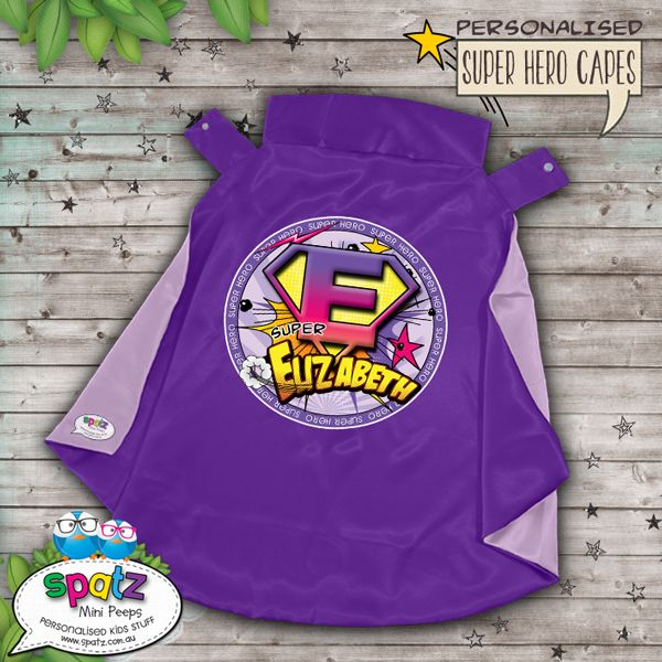Personalised Super Hero Kids Cape - Purple / Lilac  Is it a bird? Is it a plane? Nope, its way better than that. Its an awesome personalised SPATZ Mini Peeps® Personalised Kids Super Hero Cape! Complete and unique with a SUPER AWESOME design with your child's name placed on the back.