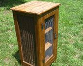 Rustic Pallet cabinet with square wire door, rusty barn tin sides, end table, jelly cabinet, bathroom storage, repurposed, recycled