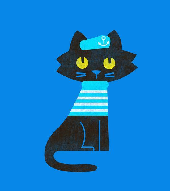 Fitz - Sailor cat Art Print