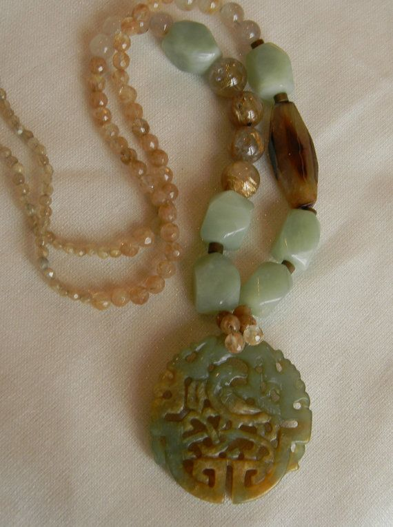 Beaded jewelry w/ carved jade pendant necklace , rutilated quartz beads w/ faceted agate charm , jade jewelry , jade pendant , Asian jewelry