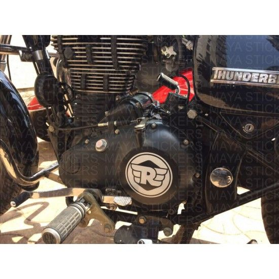 The new royal enfield r logo with wings on its side is a simplistic design that features on royal enfield himalayan engine