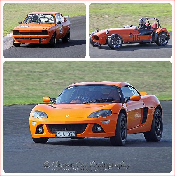 Collection of orange cars at MSCA 2015 R2 at Calder