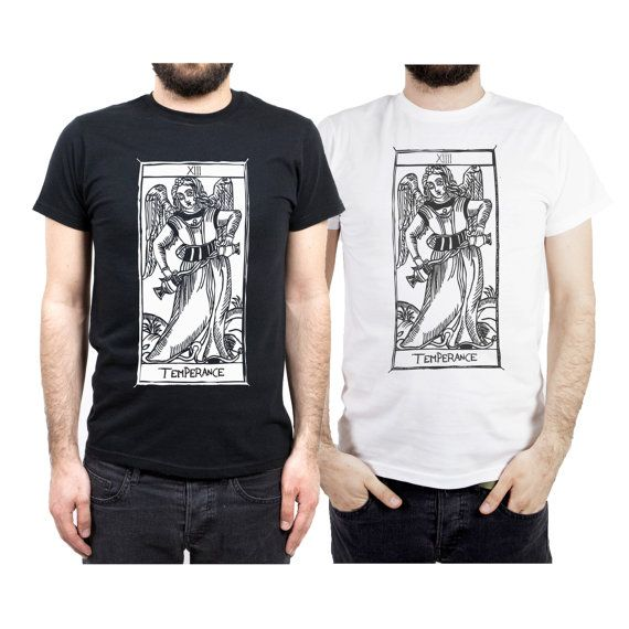 T-shirt the TEMPERANCE Tarot de Marseille TEMPERANZATarocchi (designed shirts)  100% cotton Printing:. Washing instructions: dry clean, washing to soak.  Meaning The Angel depicted in this Arcane door protection and purification, balance and harmony. Its virtues are moderation and prudence.  This paper shows that sometimes the right approach is not force, but the sweetness. Transfer of liquid from a Cup at the other symbolizes the opportunity to reconcile the energies that are in opposition…