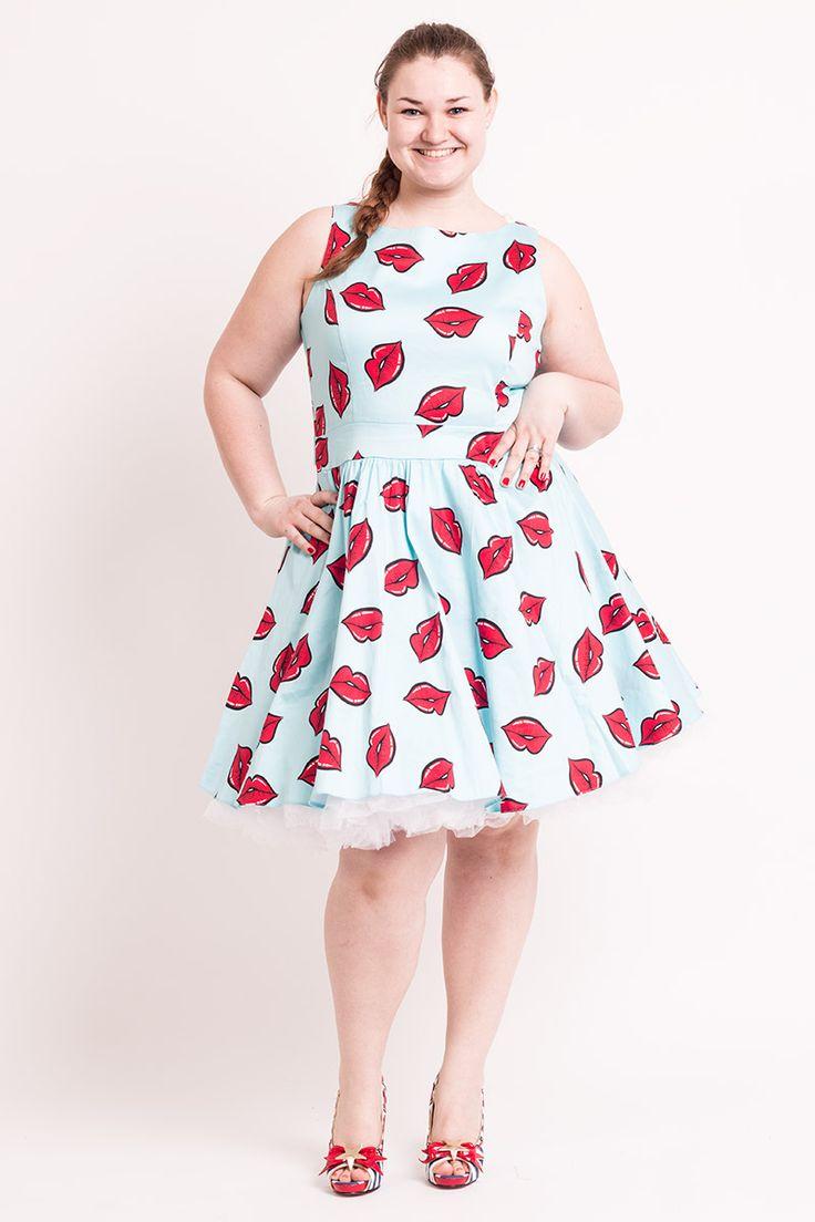 Mega seje Turkis Kjole  med Røde Læber 50 Modetøj til Damer i fantastisk kvalitet
