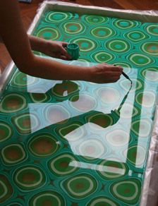 Process Ebru Turkish water marbling art