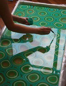 Process Ebru Turkish water marbling art