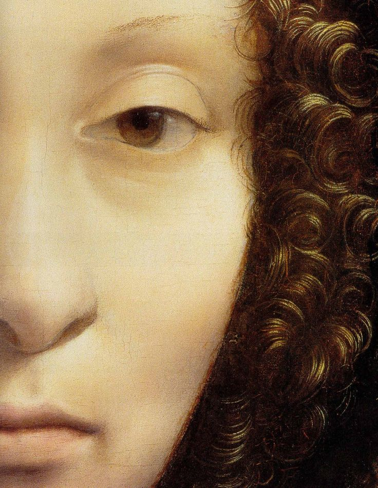 Leonardo da Vinci (Italian, 1452-1519) Ginevra de'Benci (Detail) ca. 1474-78 Oil on panel ___ Ginevra de' Benci was one of the most gifted intellectuals of her time. Historians generally consider the portrait was commissioned to celebrate the occasion of her marriage to Luigi Niccolini. She was seventeen; he was twice her age.Unlike Leonardo's other portraits of women, this lady looks sulky, unforgiving and haughty; this is emphasised by the slightly smaller cast of one eye, mak...