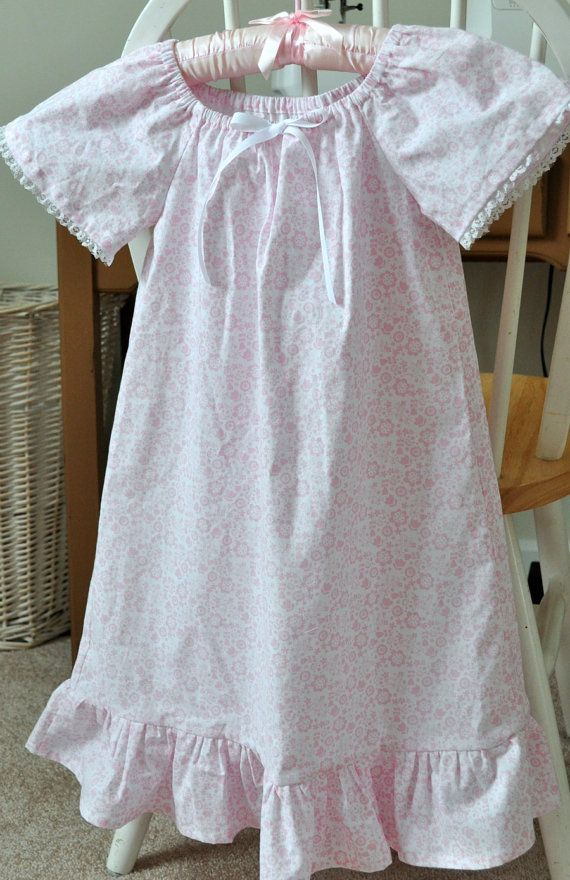 Little Girl's Cotton Peasant Nightgown