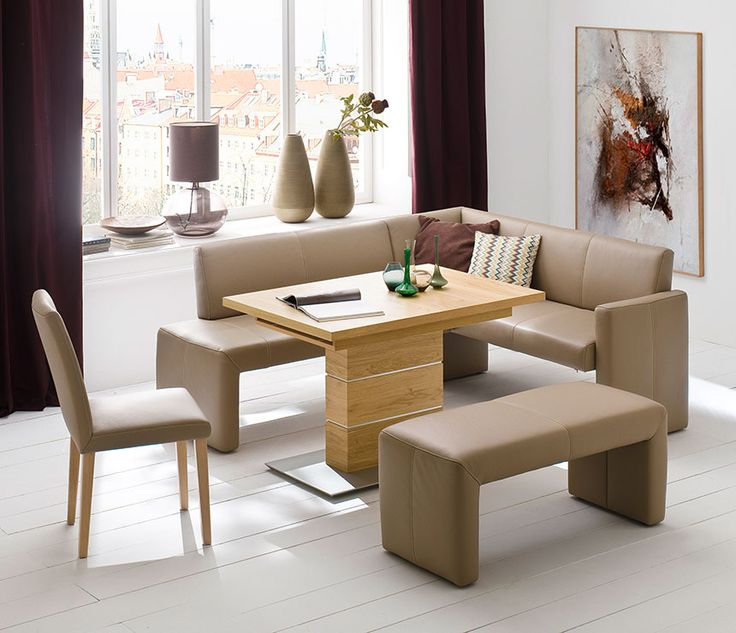 Elegant Beautiful Compact Leather Dining Bench And Table Set  Corner Dining Set Wood  Artwork Furniture