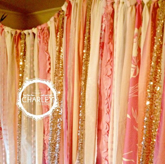 Rose Gold Sequin With Party Pop N Pink Amp Ivory Backdrop