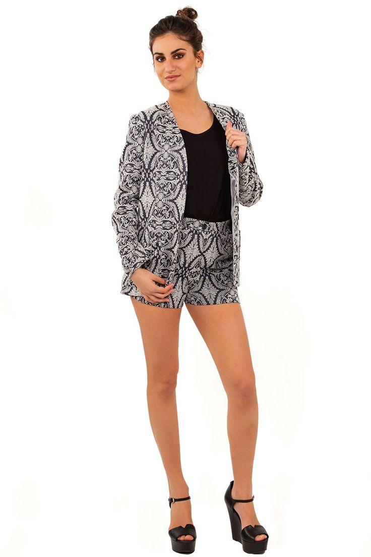 Γυναικεία ρούχα : Σακάκι με τσέπες μπροκάρδ ΓΚΡΊ