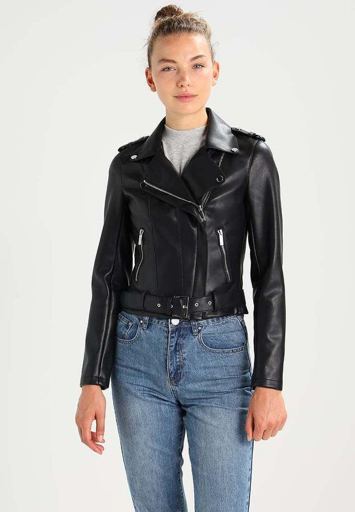 Janet Black Ladies Womens Designer Fit Casual Fashion Model Real Leather Jacket