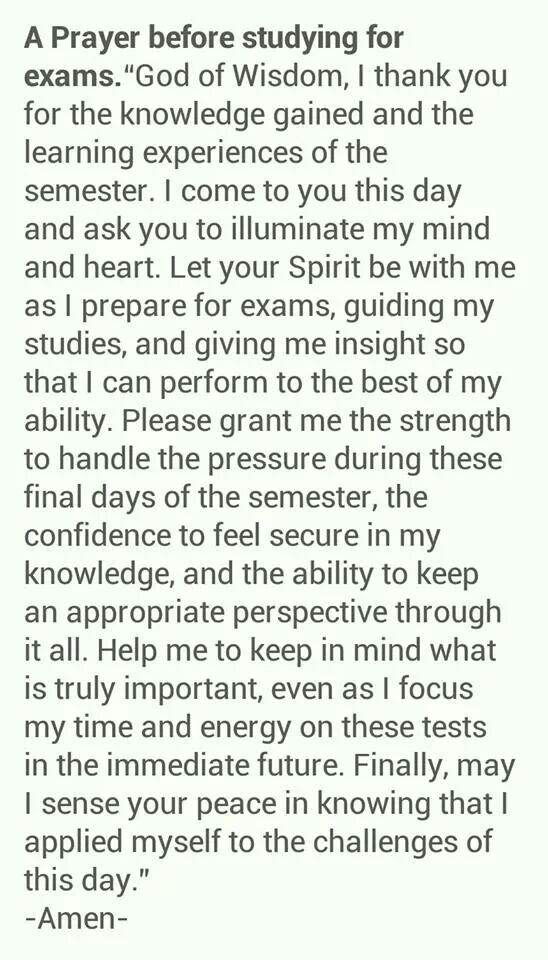 A prayer before studying for Exams...