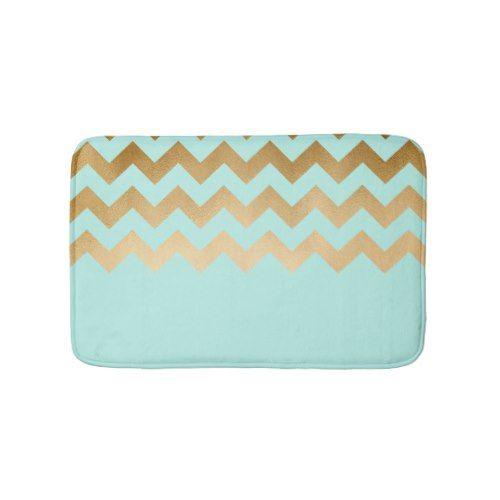 elegant gold foil chevron pattern mint background bath mat