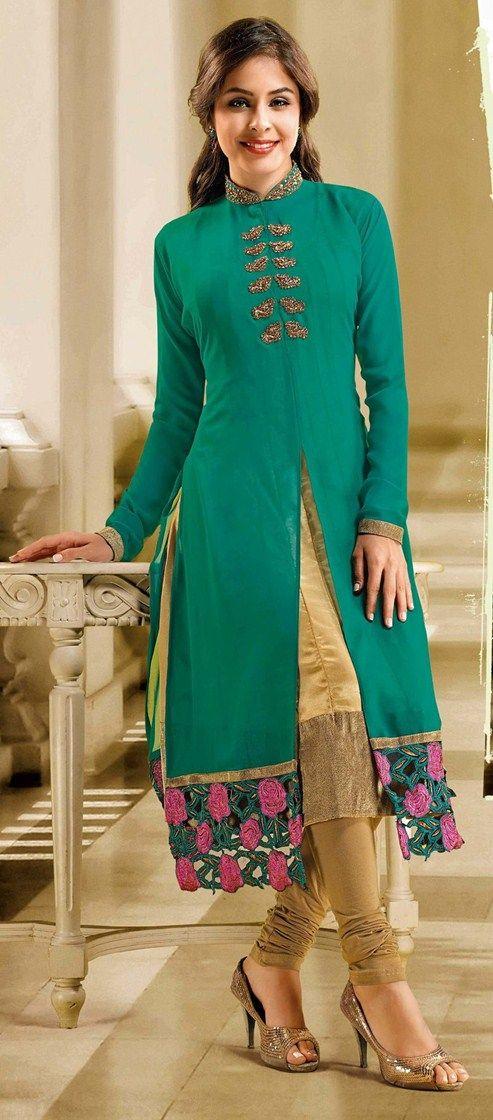 ISHIN Georgette Green kurti (Size:XL)