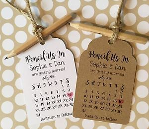 Pencil us in rustic calendar save the date tags