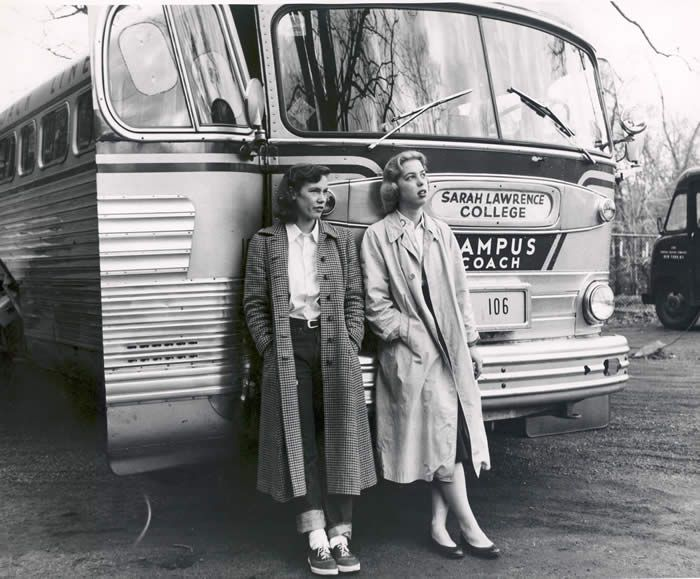 Beryl Forbes Eddy '58 (left) and Mary Elizabeth Sellers '58 wait ouside the bus during the 1955 Sarah Lawrence College trip to the Tennessee Valley Authority