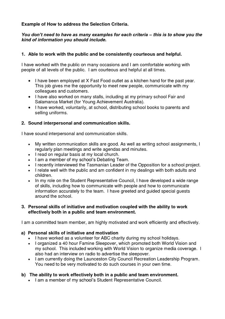 36 best Selection Criteria images on Pinterest Gym, Government - government resume samples