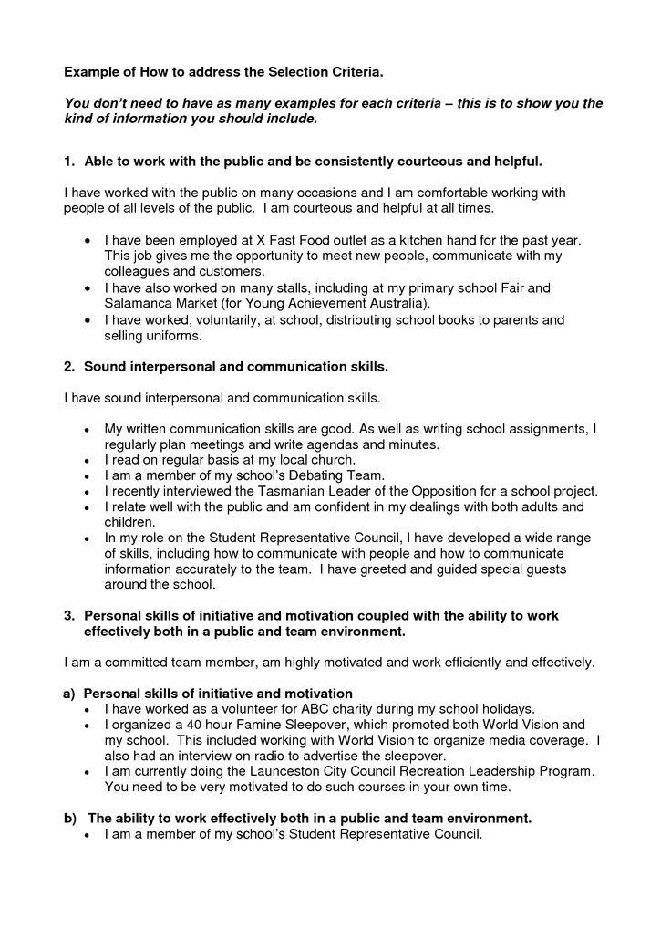 cover letter addressing selection criteria sample