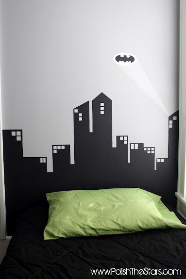 Superhero room painted headboards and gotham city on for Batman cityscape wall mural
