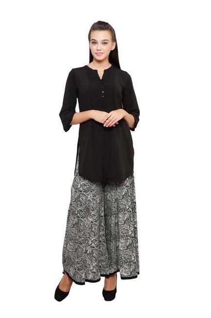 Light Black Parallel Divided Skirt - Divided Skirts - Indo-Western - Lakshita