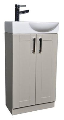Grey Green Shaker 450mm Cloakroom Bathroom Vanity Unit Curved Basin Sink  Tap   Left Hand Basin