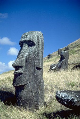 Easter Island.  omg i need to go here and see these things! something to un real about the size and mystery of how they were made