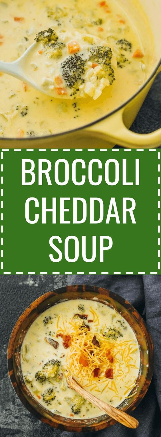 Broccoli cheddar soup - It's easy to make a broccoli cheddar cheese soup from scratch. Healthy and low carb. panera / keto / low carb / diet / atkins / induction / meals / recipes / easy / dinner / lunch / foods / healthy / gluten free / paleo / recipe / best / creamy / homemade / copycat / sides / stove top / simple / copy cat / light / how to make / clean / for a crowd / with bacon / chunky / loaded / meal / no flour / dutch oven / families / cooking / winter #soup #Lowcarb #healthy