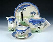Clarice Cliff Conical shape partial Early Morning teaset (teapot, creamer, sugar, & plate) in the Sun Dew?? pattern, w/ open triangular handle, c. ????, handpainted enamel on glaze, ceramic, UK